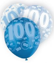 Blue Glitz Age 100 Latex Balloons (6)